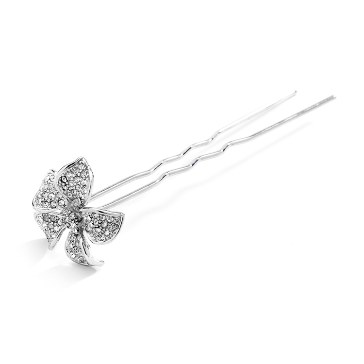 Pave Crystal Petals Hair Stick Pin for Weddings or Proms<br>4210HS