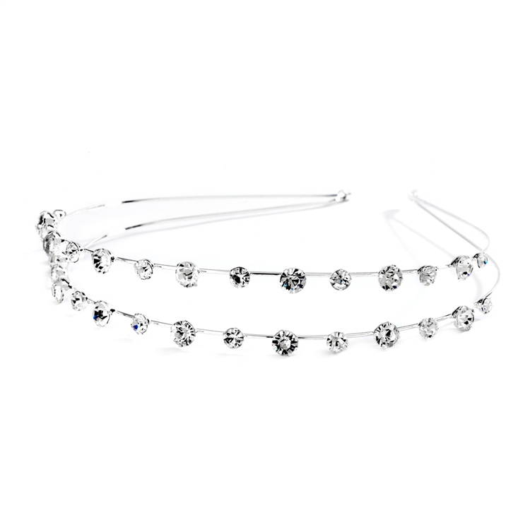 2-Row Prom or Wedding Headband with Round Crystals<br>4216HB
