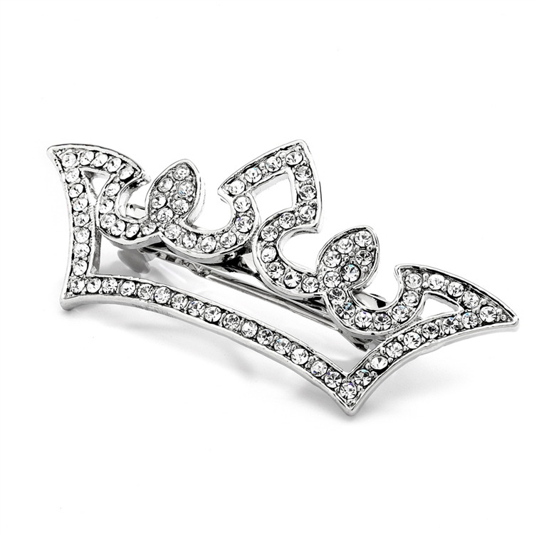 Pave Crystal Pageant Crown Barrette<br>4218HB