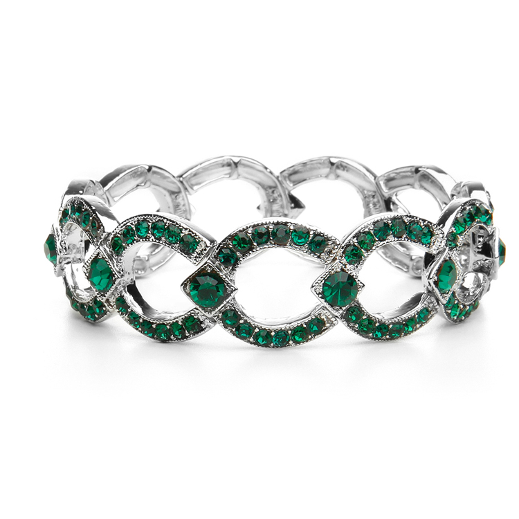 Emerald Crystal Art Deco Links Bracelet<br>421B-EM