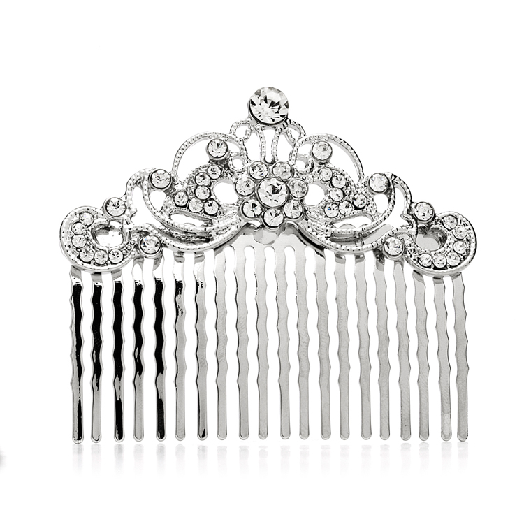 Vintage Crystal Swirls Bridal or Prom Hair Comb<br>4226HC