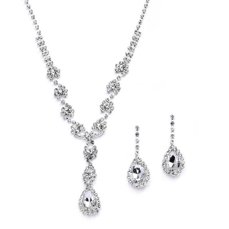 Dramatic Rhinestone Prom or Wedding Necklace Set with Pear Drops<br>4231S