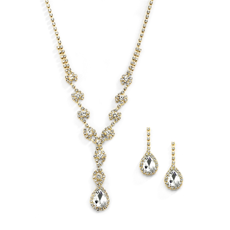 Dramatic Rhinestone Gold Prom or Wedding Necklace Set with Pear Drops<br>4231S-G
