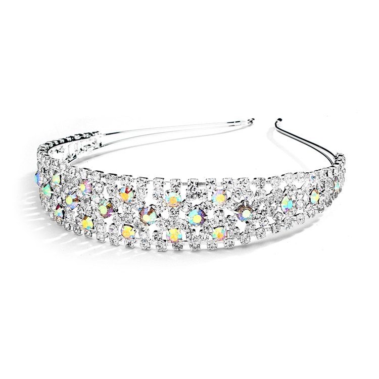 Shimmering AB Rhinestone Bold Headband for Weddings or Proms<br>4232HB-AB