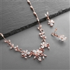 Elegant Vine CZ Necklace and Earrings Set for Weddings or Evening Wear<br>4233S-RG
