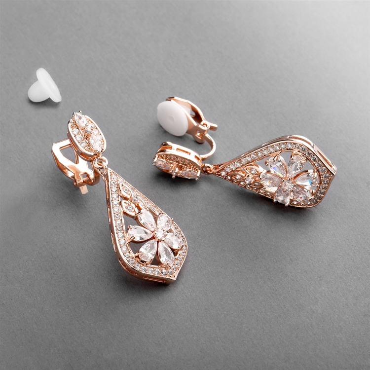 Sophisticated Rose Gold Art Deco CZ Clip-On Wedding Earrings<br>4237EC-RG