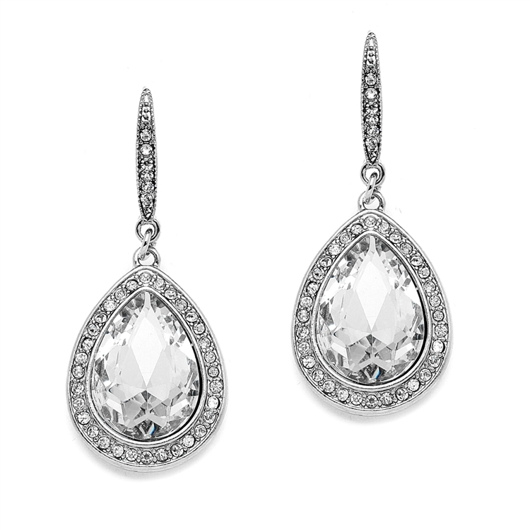 Best Selling Prom or Bridesmaids Pear Shaped Earrings with Crystal Accents<br>4247E