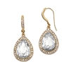 Top Selling Clear Crystal Teardrop Earrings with Gold Pave Accents<br>4247E-CR-G