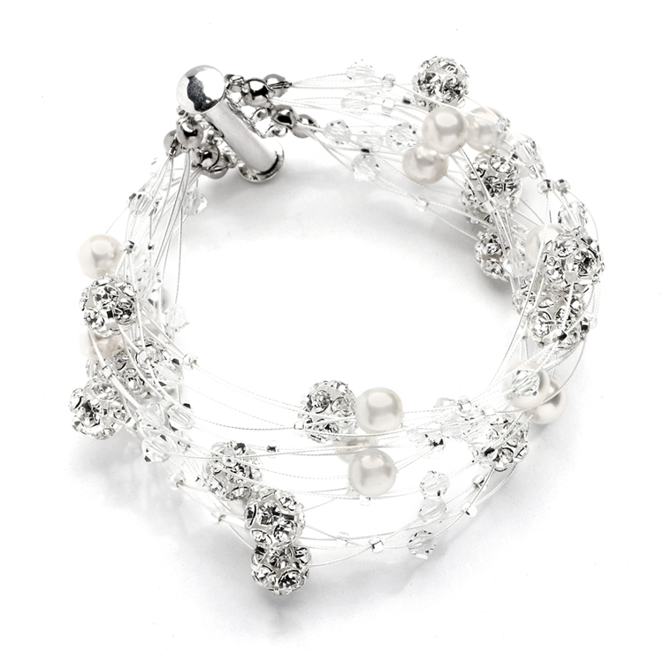 Sarah's Special 8-Row Floating Pearl, Crystal and Rhinestone Fireball Illusion Bridal Bracelet<br>4265B-8-I-CR-S