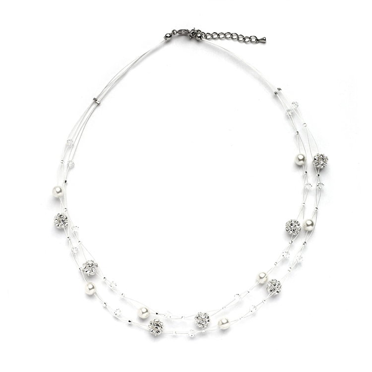 Sarah's Special 2-Row Floating Pearl, Crystal and Rhinestone Fireball Illusion Wedding Necklace<br>4265N-2-I-CR-S