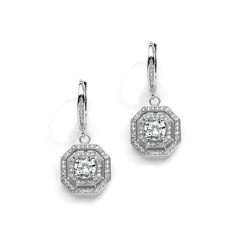 Vintage Cz Dangle Wedding Earrings In Art Deco Style Br 4283e