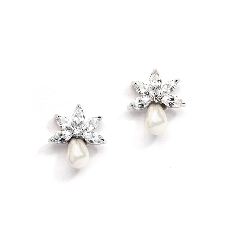 Dainty CZ Bridal Earrings with Freshwater Pearls<br>4286E