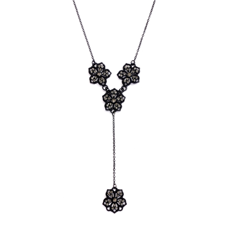"Popular Black Diamond Filigree Flower ""Y"" Necklace for Prom or Bridesmaids<br>4301N-BD"