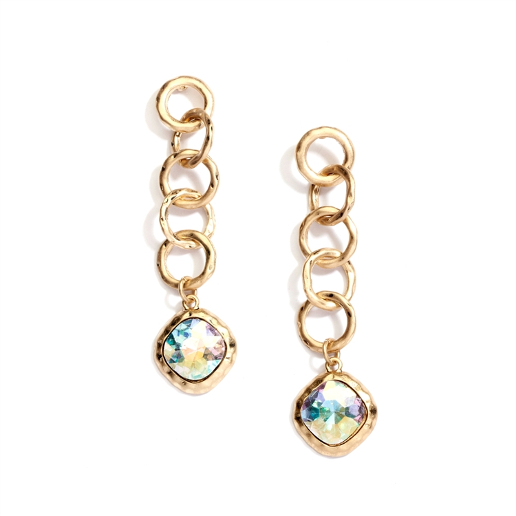 Bold Matte Gold Links Crystal Drop Earrings<br>4305E-AB-MG