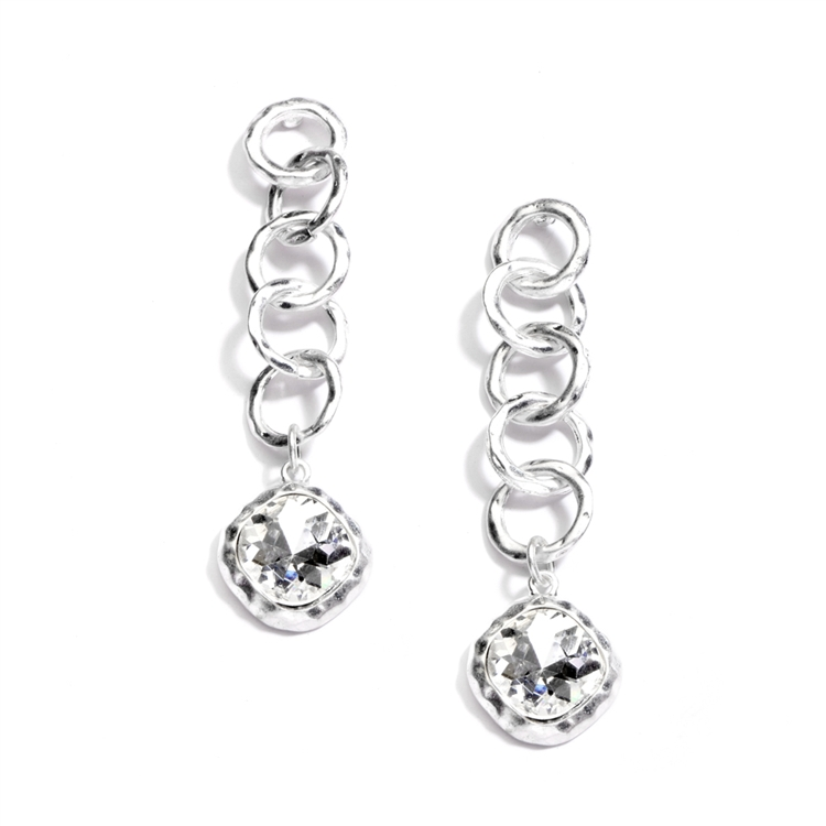 Bold Matte Silver Links Crystal Drop Earrings<br>4305E-CR-MS
