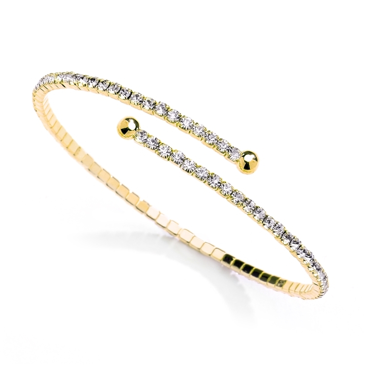 Delicate Single Row Rhinestone Coil Bracelet in 14K Gold<br>4322B-G