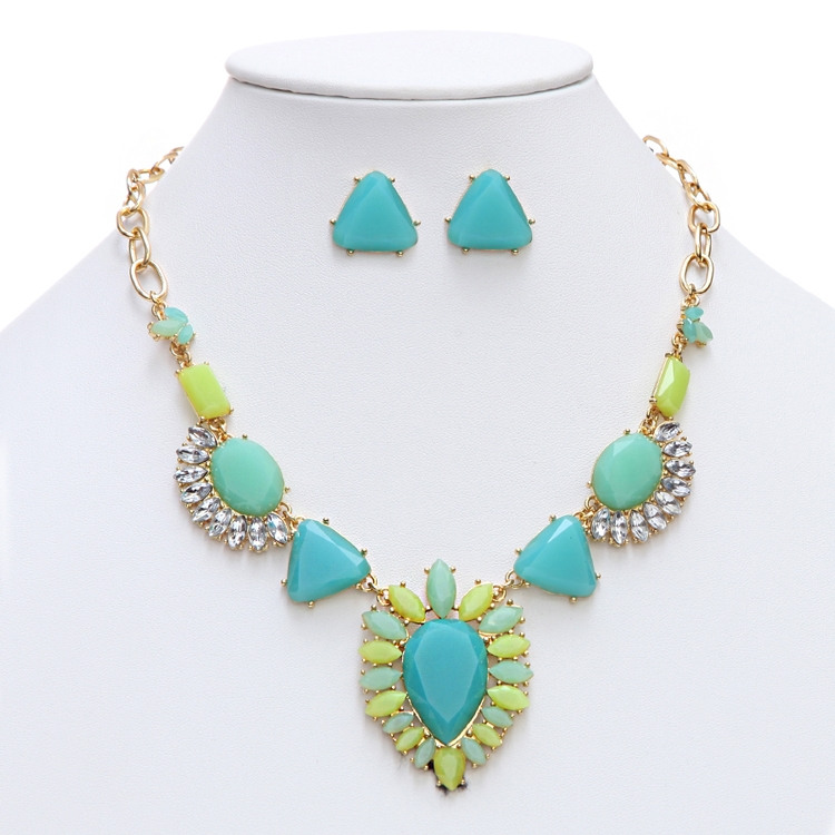 GREAT VALUE - Turquoise-Green Multi Art Deco Statement Necklace<br>4325S-TQ-G