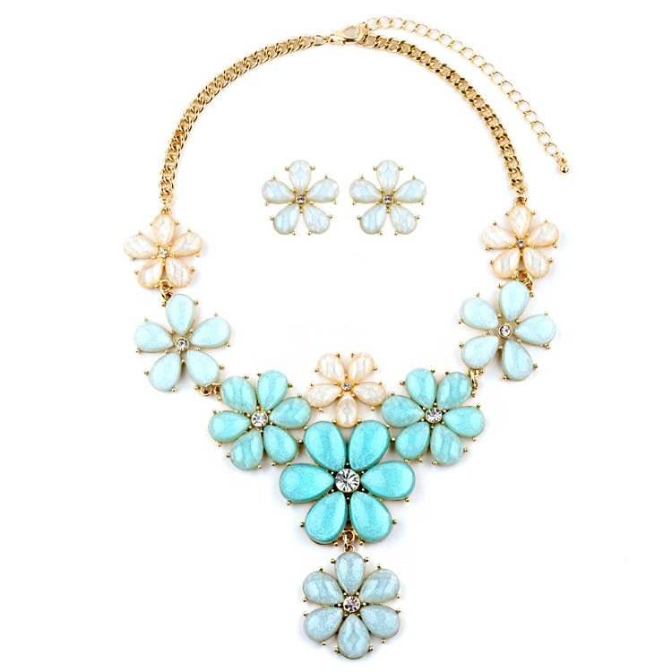 Mint Flower Power Statement Necklace Set<br>4335S-MIN-G