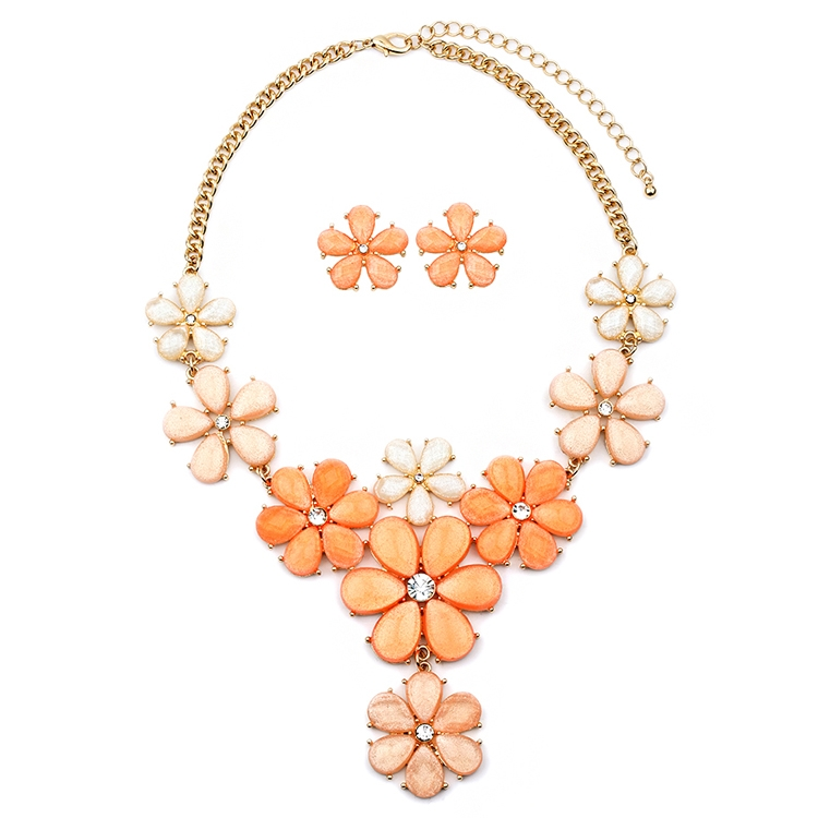 Tangerine Peach Flower Power Statement Necklace Set<br>4335S-TG-G