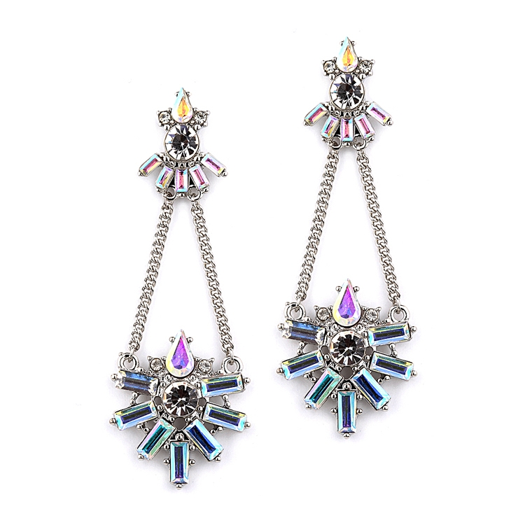 Art Deco Chain Earring with Iridescent Baguettes<br>4338E-AB-S