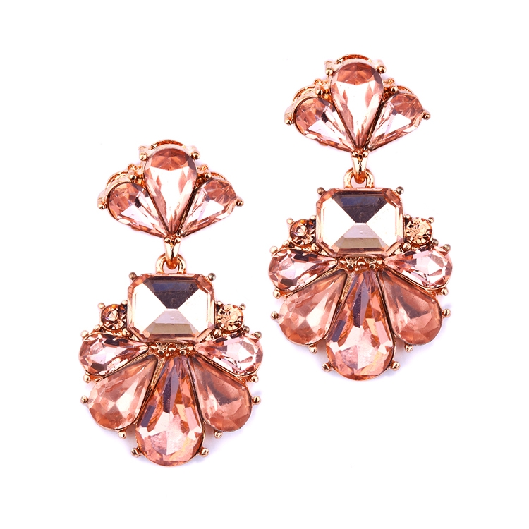 Dramatic Icy Pear Cluster Statement Earrings for Wedding or Prom<br>4339E-RG