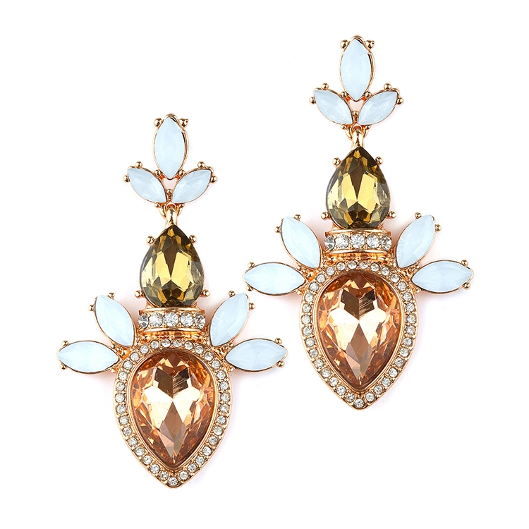 Trending Champagne Cluster Statement Earrings<br>4340E-CH-RG