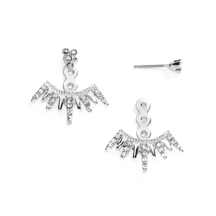 Spikey Silver Earring Jackets for Brides, Bridesmaids and Prom<br>4348E-S