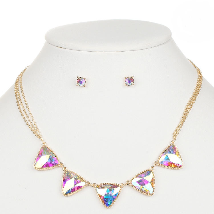 Iridescent AB Triangles Gold Necklace and Earrings Set<br>4355S-AB-G