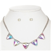 Iridescent Triangles Necklace Set for Prom or Bridesmaids<br>4355S-AB-S