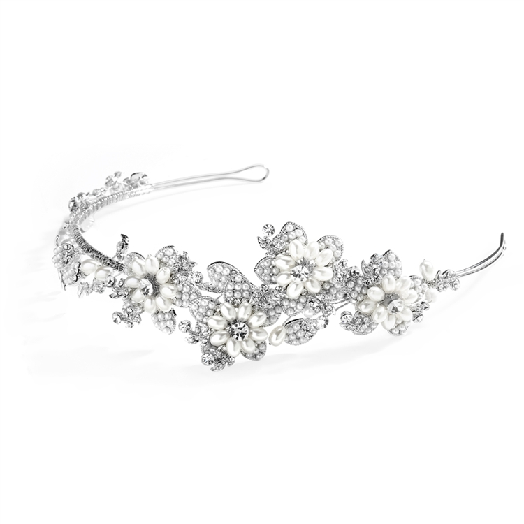 Soft Cream Pearl and Crystal Botantical Bridal Headband<br>4357HB-SC