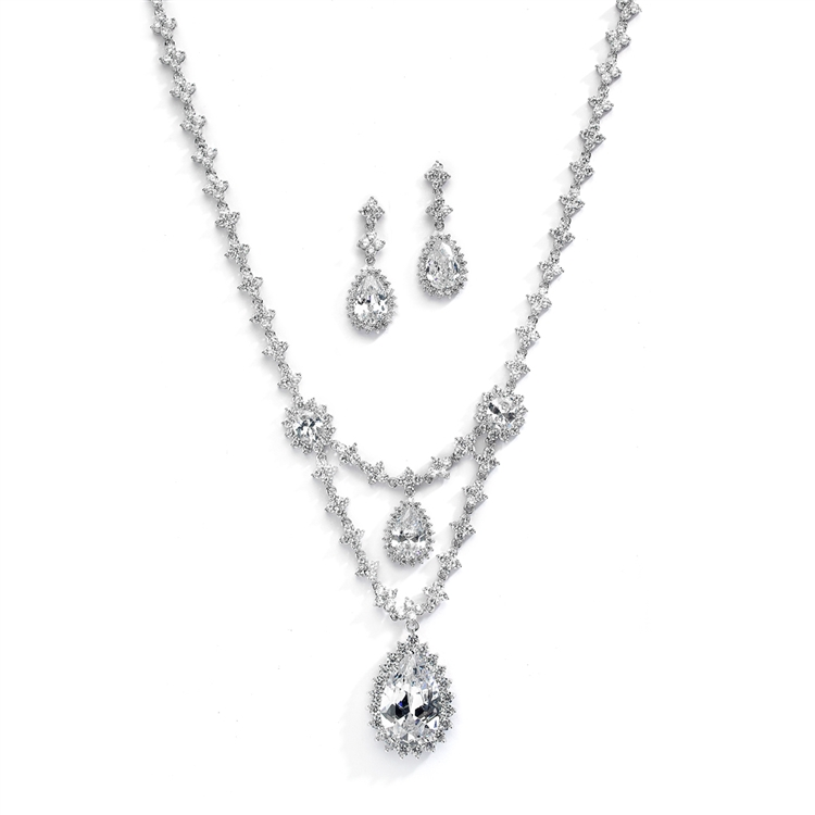Luxury Bridal Statement Necklace Set with Draped CZ<br>4372S-S