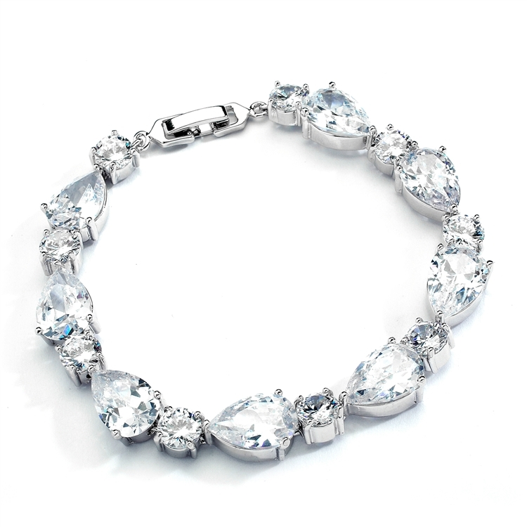 Top Selling CZ Pears and Rounds Bridal or Bridesmaids Bracelet<br>4374B-S