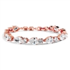 Top Selling CZ Pears and Rounds Bridal or Bridesmaids Rose Gold Bracelet<br>4374B-RG