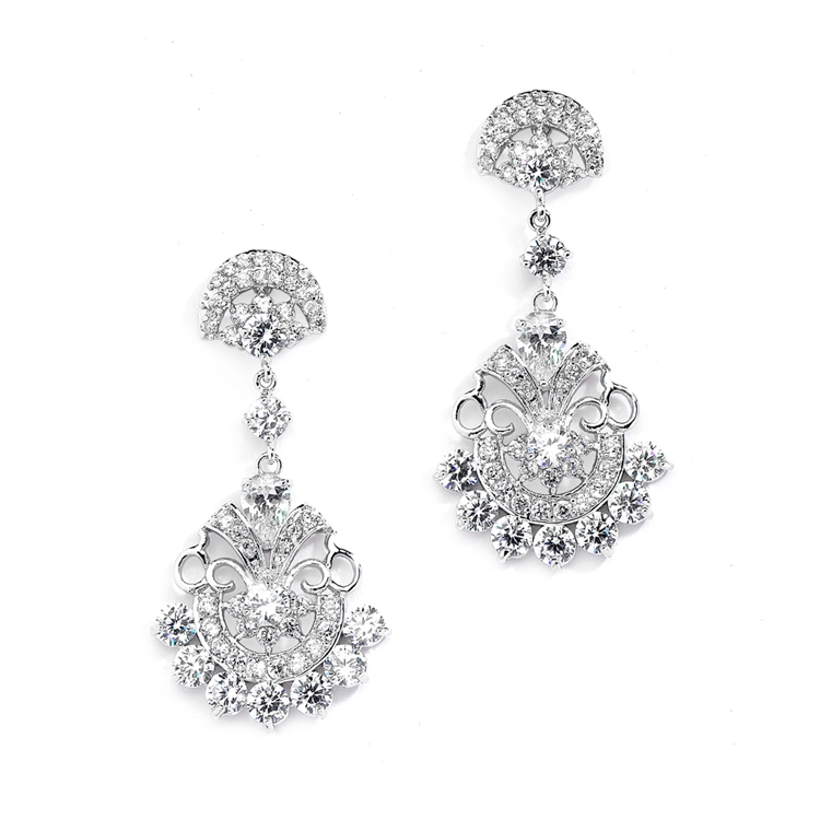 Vintage Glam CZ Bridal Earrings<br>4375E-S