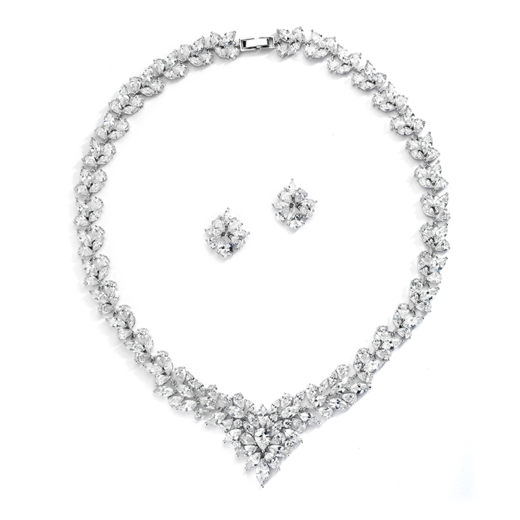 Regal Marquise CZ Statement Necklace and Earrings Set<br>4376S-S