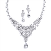 Red Carpet CZ Wedding or Pageant Statement Necklace Set<br>4377S-S