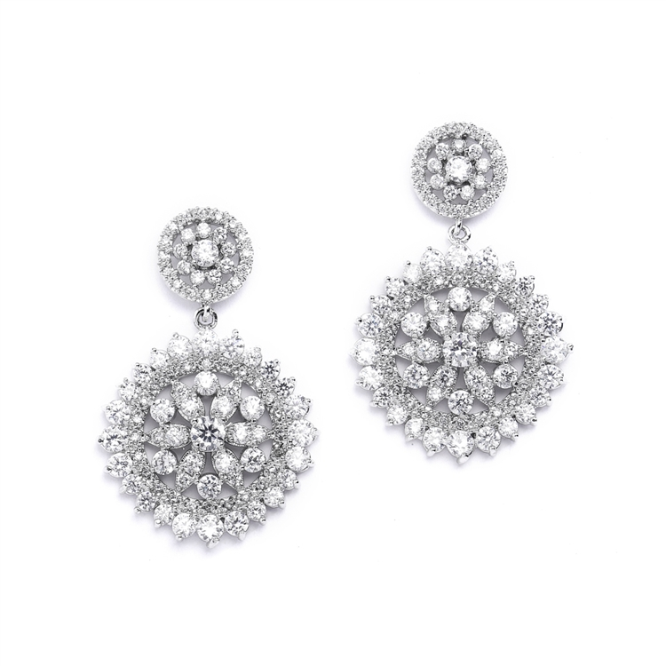 Vintage CZ Bridal Earrings with Pave Drops<br>4378E-S
