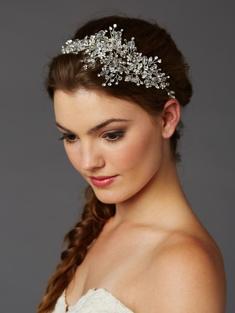 Wholesale bridal tiaras bridal headpieces bridal hair best selling wedding hair vine with lavish crystals sprays 4380h cr s junglespirit Image collections