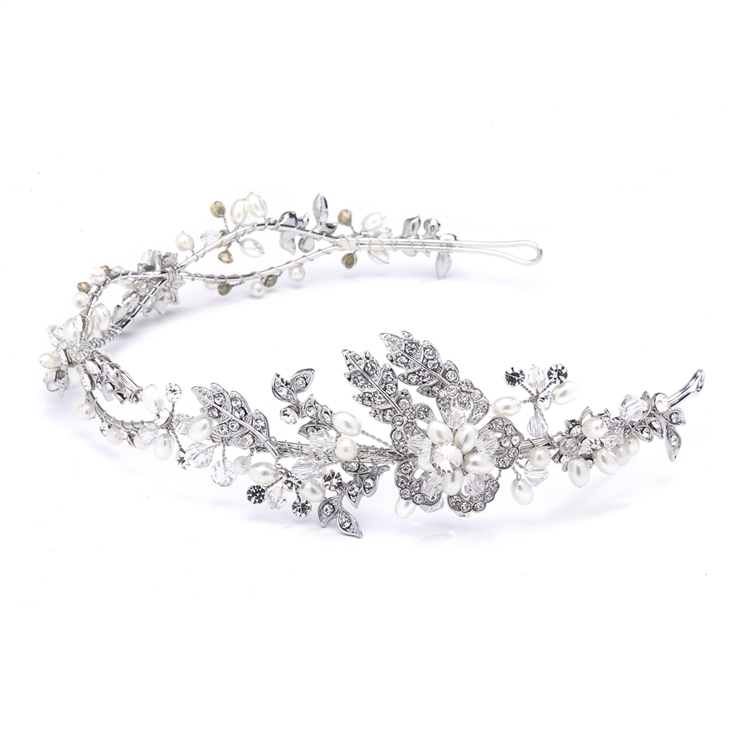 Wavy Bridal Headband with Crystal and Pearl Garden<br>4381HB-SC-S