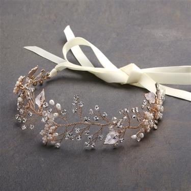 Best-Selling Bridal Headband with Hand Painted Gold and Silver Leaves<br>4384HB-I-G