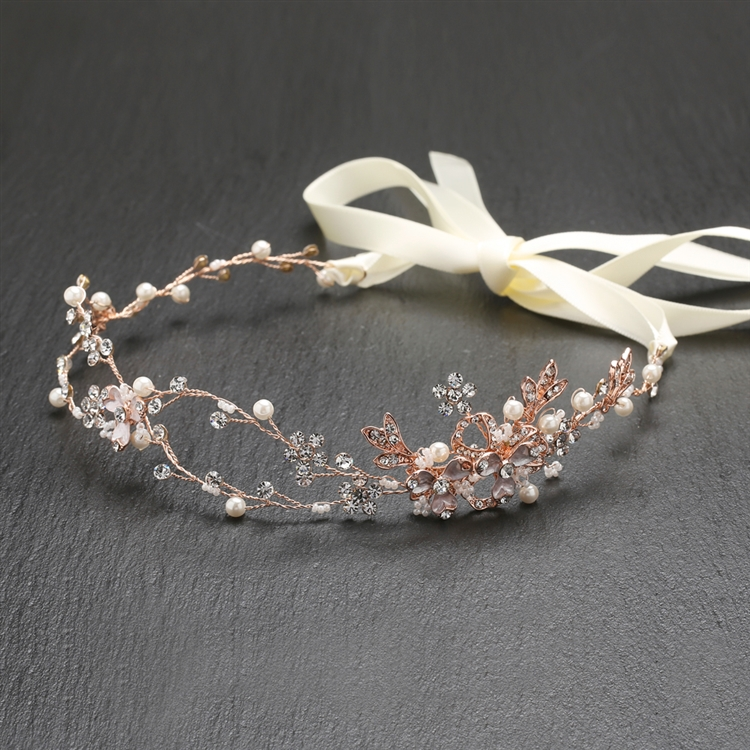 Best-Selling Handmade Bridal Headband with Painted Rose Gold Vines<br>4386HB-I-RG