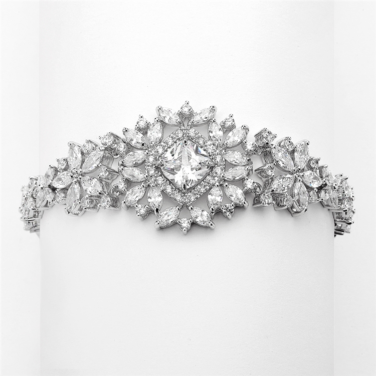 Dramatic CZ Bridal Bracelet with Cushion Cut Center<br>4392B-S