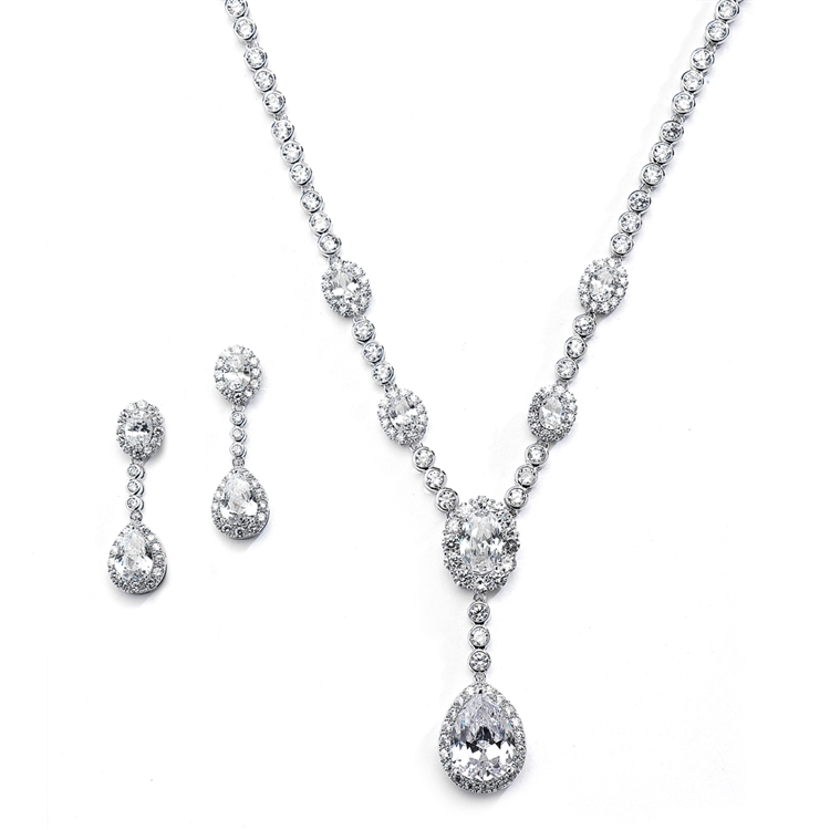 Glamorous Bezel Set CZ Wedding Necklace and Earrings Set<br>4395S-S