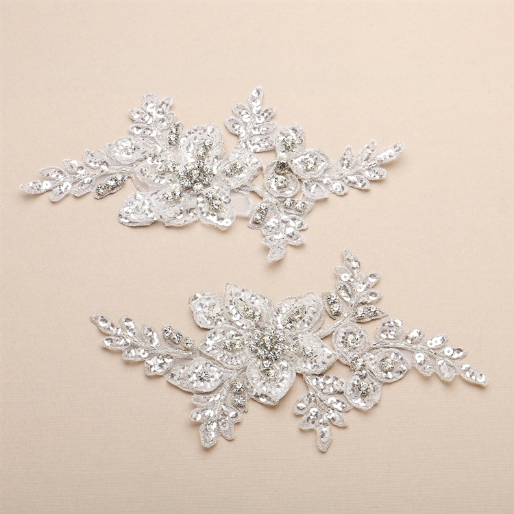 Breathtaking Crystal Bridal Lace Applique in White Floral Vine Motif<br>4401LA-W