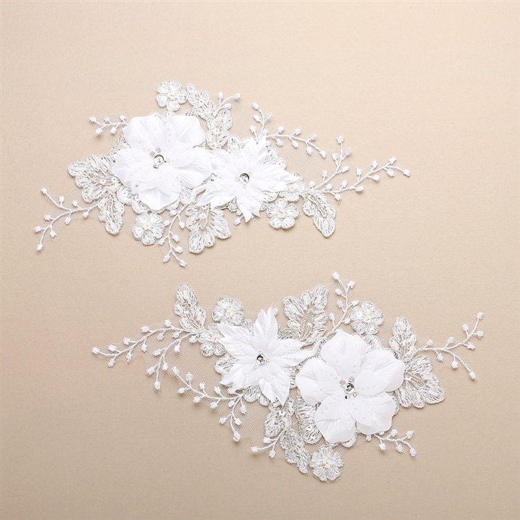 Luxurious Embroidered White Bridal Lace Applique with Dimensional Flowers<br>4403LA-W