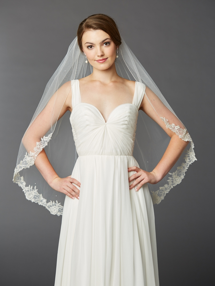 One Layer Fingertip Length Mantilla Bridal Veil with Silver Lace Edge & Crystals<br>4414V-I-S