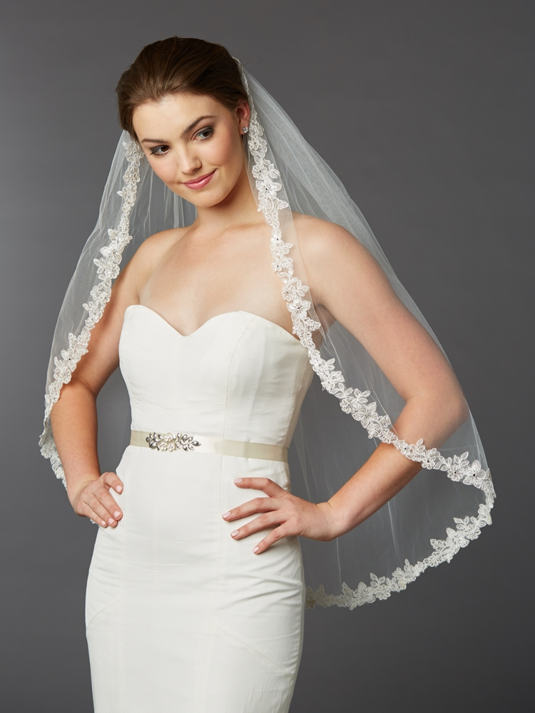 Sculpted Lace Edged Fingertip Length Mantilla Wedding Veil with Crystal Accents<br>4416V-I-S