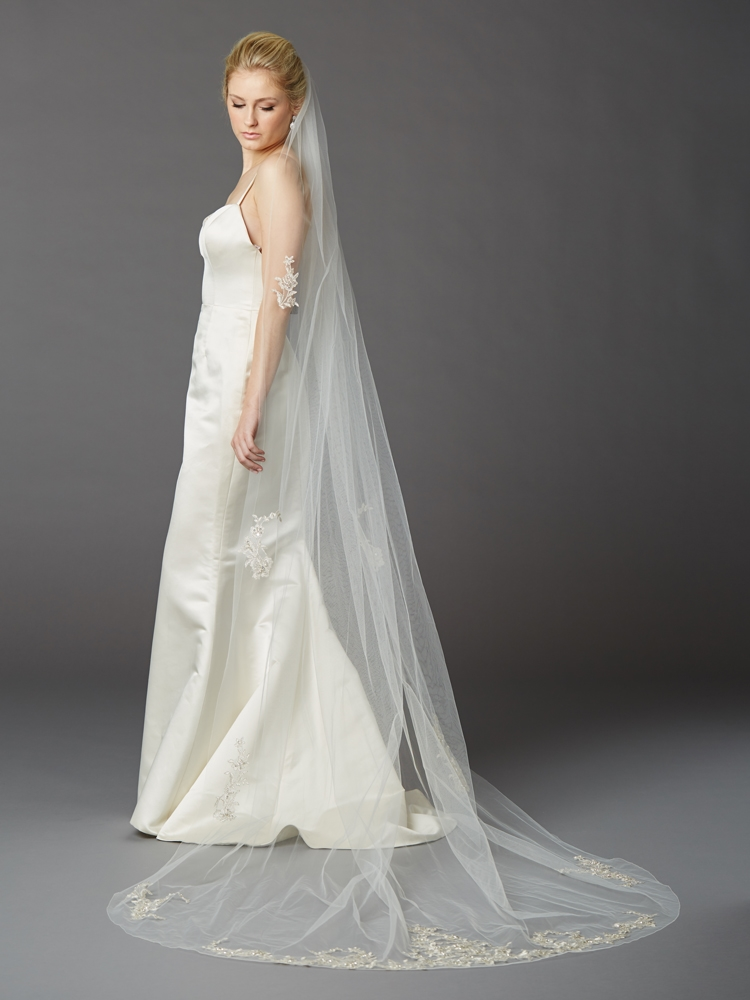 Cathedral Wedding Veil with Silver Embroidered Beaded Lace Appliques & Pencil Edge<br>4417V-I-S