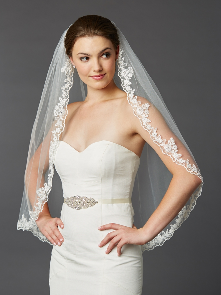 Scalloped Lace Edge Fingertip Mantilla Veil with Crystal & Beads<br>4418V-I