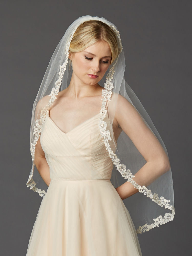 Rum Champagne Lace Edge Fingertip Embroidered Lace Edge Ivory Mantilla Veil<br>4419V-I-RMPK